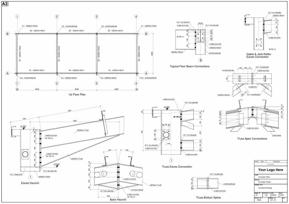 Structural Steel Connections Dwg : Steel detailing uk cad drawings fabrication